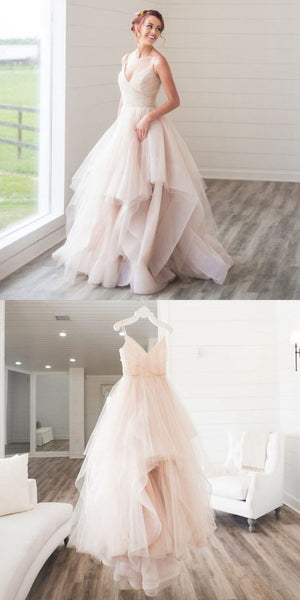A-line V Neck Long Prom Dress, Tulle Prom Dress S16560