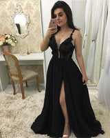 A-line V Neck Black Long Prom Dress, Charming Prom Dress S17668