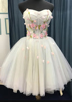 Short Sweetheart Homecoming Dress, Tulle Flowers Party Dress S14439