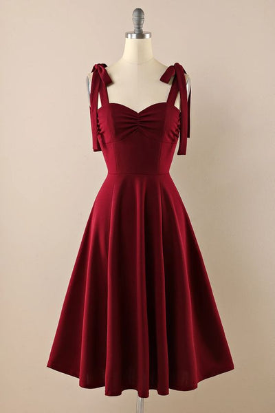Burgundy Vintage Homecoming Dress With Bows S22924