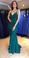 Fashion Green Lace Lace-up Mermaid Prom Dress S17105