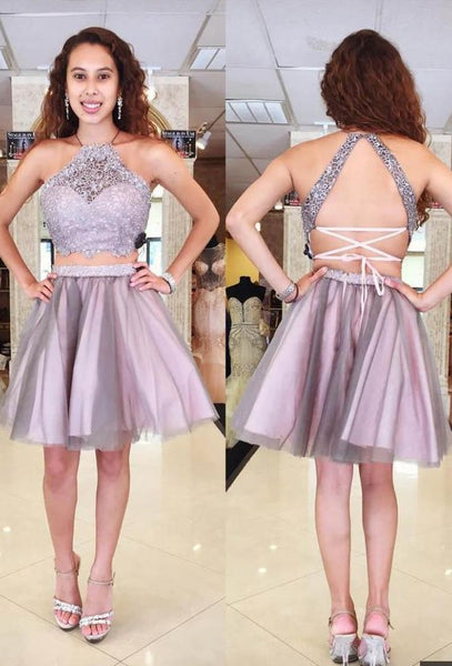 Two Piece Short Homecoming Dress With Lace S20594