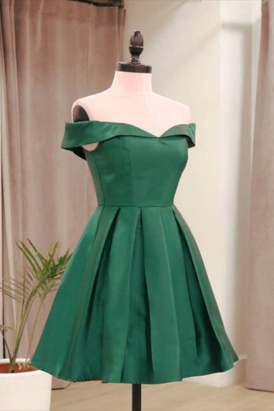 Off the shoulder green short homecoming dress for party S14664