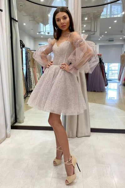 Cute sweetheart neck tulle sequin short homecoming dress  S18253