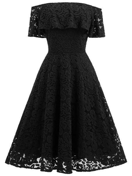 Off the shoulder black lace homecoming dress S18803