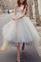 Princess A Line Strapless Grey Tea Length Homecoming Dress S20962