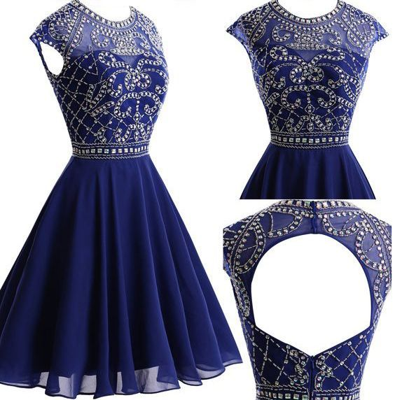 Round Neck Homecoming Dresses, Rhinestone Homecoming Dresses, Navy Chiffon Homecoming Dresses S13504