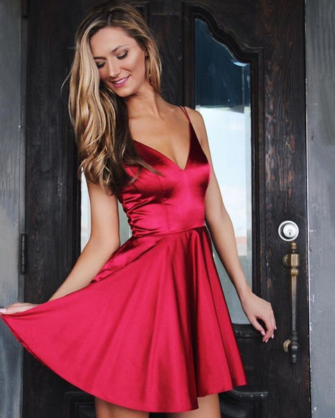 Cute V Neck Short Red Homecoming Dress  S14489