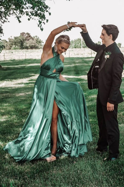 Gorgeous Halter Green Long Prom Dress with Slit S16954