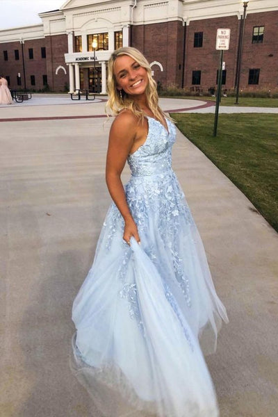 Light Blue Tulle and Lace A-line Long Prom Dress S17339