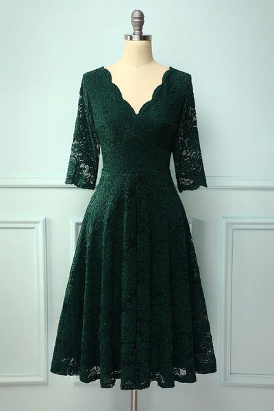 3/4 Sleeves Formal Dress with Lace , Green V Neck Homecoming Dress S23066