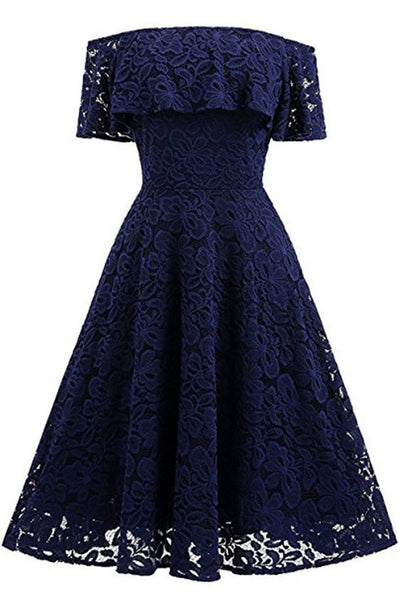 Navy Blue Short Lace Homecoming Dress  S17901