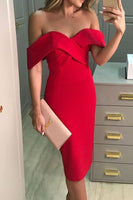 Off the Shoulder Sheath Midi Cocktail Dress Red Homecoming Dress S14027