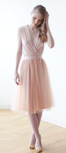 V Neck Tulle Short Homecoming Dress  S20372