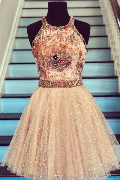 CHAMPAGNE TULLE BEADS SHORT PROM DRESS, CHAMPAGNE HOMECOMING DRESS S14746