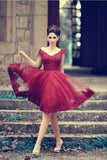 Burgundy lace off shoulder Tulle homecoming dresses  S14277