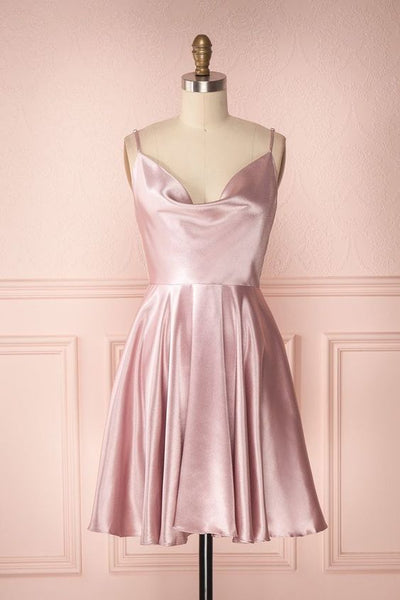 Simple A-Line Cowl Neck Open Back Blush Pink Satin Short Homecoming Dresses  S14085