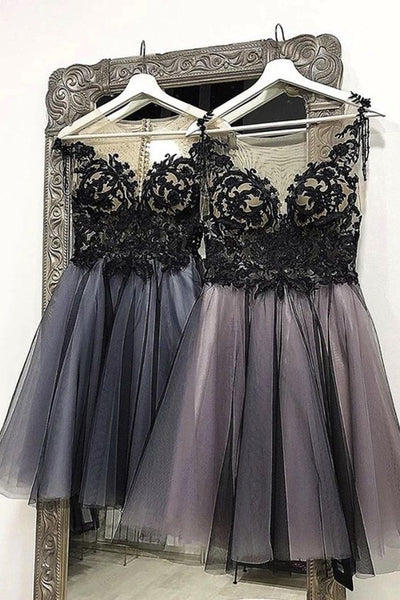Black Tulle Lace Dress Short Homecoming Dress S14106