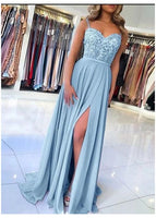 Light Blue Prom Dress with Slit, Evening Dress ,Winter Formal Dress S17399
