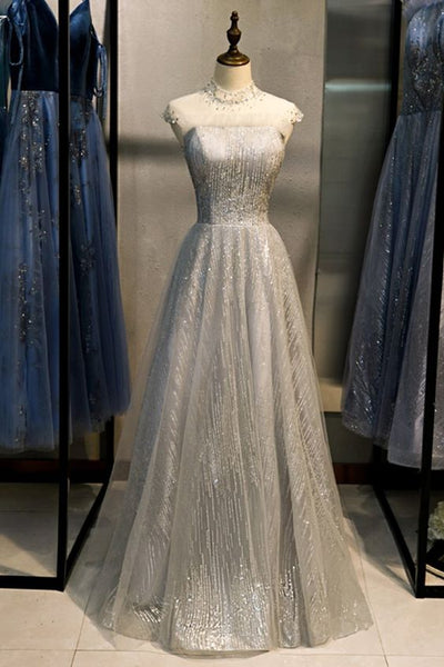 Gray Sequins Tulle Long Formal Prom Dress, Evening Dress S14112
