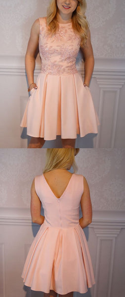 A-Line Jewel Short Pink Satin Homecoming Dress S20903