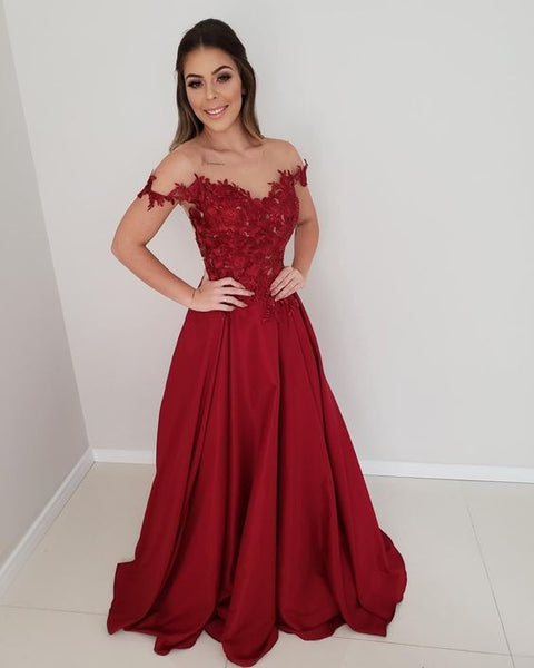 Off the shoulder red long prom dress  S17552