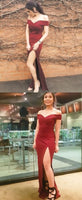 Burgundy Formal Dress With Slit, Simple Satin Prom Dress S16778