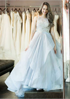 Round Neck Ling Blue Prom Dress  S16993