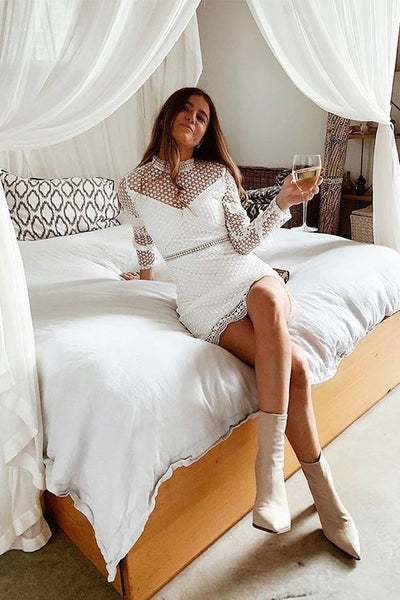 Long Sleeves Short White Lace Homecoming Dress  S14653