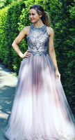 Long Prom Dress, Beaded Brown Long Prom Dress with Open Back  S16126