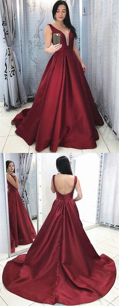 Burgundy V Neck Open Back Prom Dress with Train  S17301