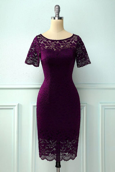 Bodycon Lace Plus Size Grape Short Homecoming Dress S23067