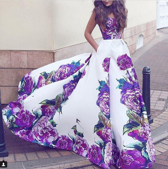 Print Prom Dresses, Flowers Evening Dresses, Sweetheart Prom Dress S23397