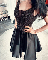 Short Black Homecoming Dresses Satin V neck sequins beaded semi formal gowns S15634
