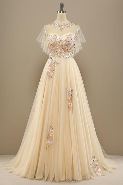 Charming Prom Dress With Appliques , Tulle Prom Dress  S16145