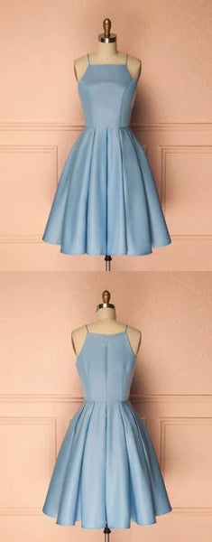 Light Blue Short Knee-Length Short Homecoming Dresses S18139