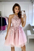 Pink lace A line homecoming dress cute short party dress S17929