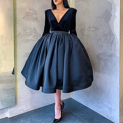 V-neck Velvet Top Satin Homecoming Dresses S15898