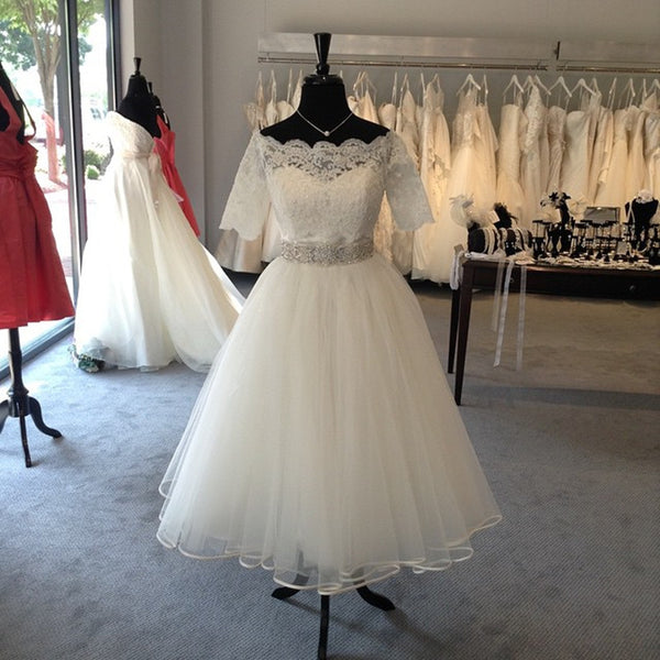 Lace Tulle White Homecoming Dress With Bead Belt S23395
