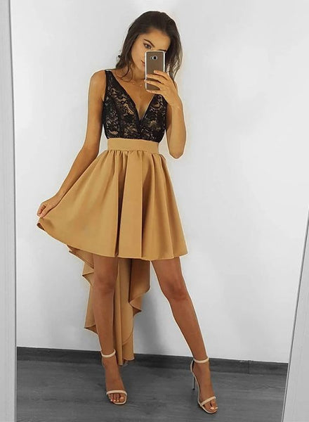 High Low Champagne Homecoming Dress with Appliques S17937