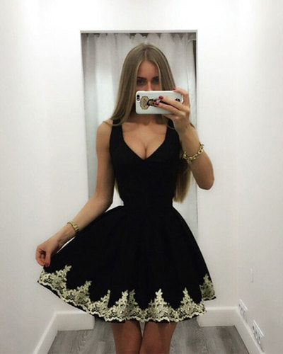 Cute black short homecoming dress S14777