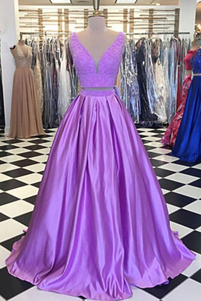Lavender Satin Two Pieces Beaded Long Lace Prom Dress  S17278
