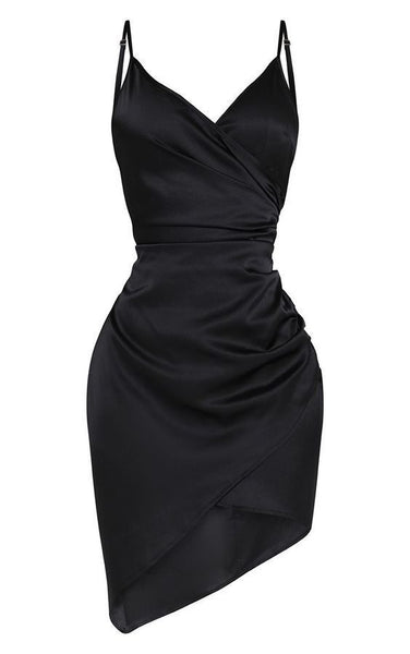 Shape Black Satin Wrap Homecoming Dress  S16197