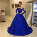 Royal blue prom dresses, off the shoulder prom dresses, long sleeve prom dresses  S17004