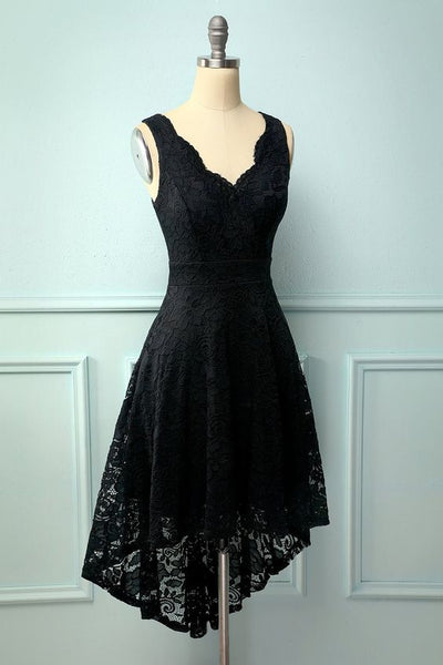 Black V-Neck Lace Homecoming Dress S15767