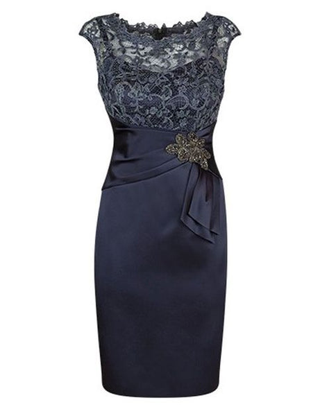 Elegant Short Cap Sleeves Navy Blue Homecoming Dress S18034