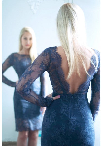 Short Lace Vintage Homecoming Dress , Open Back Homecoming Dress S23390