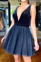 Short Navy Blue Homecoming Dresses With Glitter Tulle  S15636