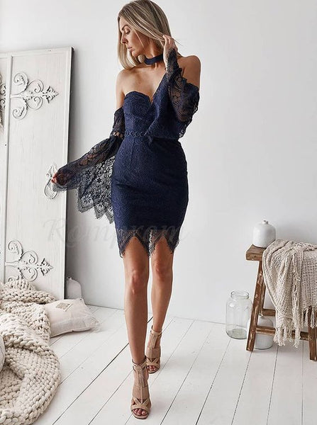 Sheath Sweetheart Bell Sleeves Above-Knee Navy Blue Lace Homecoming Dress  S14656