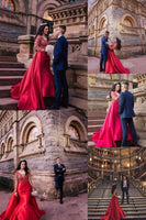 Mermaid Red Prom Dresses Long Sleeve Sweep Train Evening Dress Formal Gowns S20991
